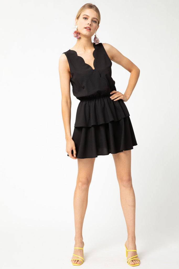 Solid sleeveless ruffle tiered romper