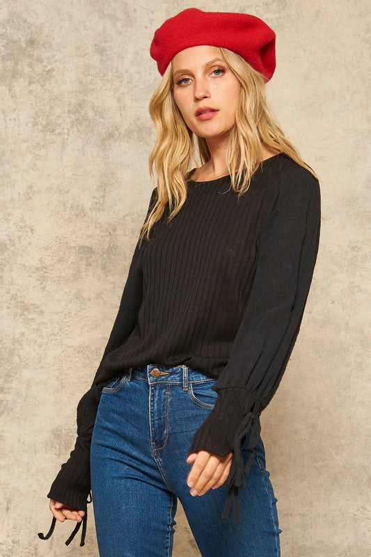 Ribbed Knit Bishop-Sleeve Top with Tied Cuffs/Final Sale