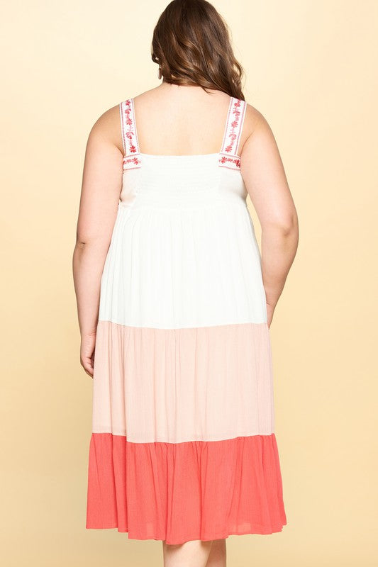 Tiered Color-Block Dress with Embroidered Straps