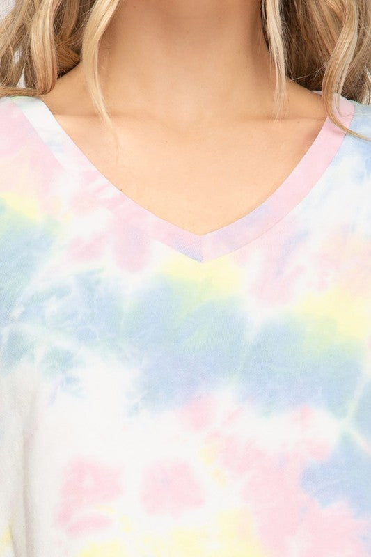 HALF SLEEVE TIE DYED CROP TOP