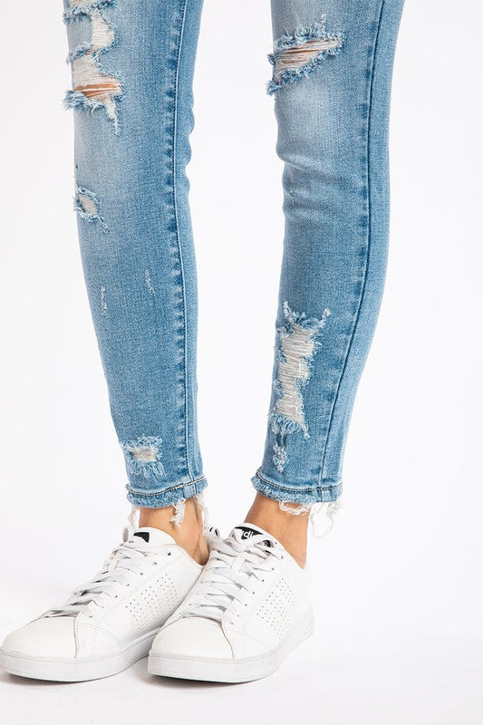 Mid Rise Distressed Ankle Skinny Jeans - KC8373M