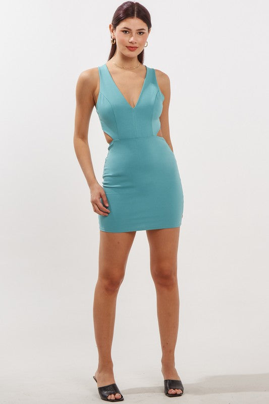 BACK STRAP PONTE BODYCON DRESS
