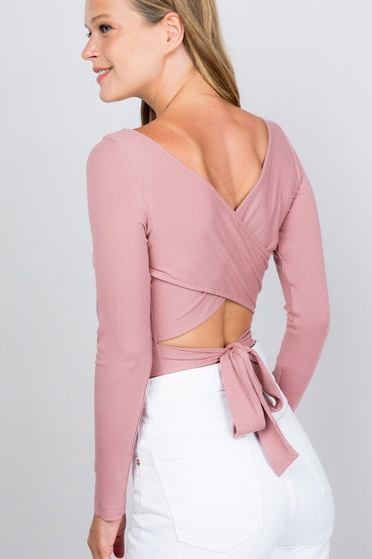 Cross Back Ribbed Top