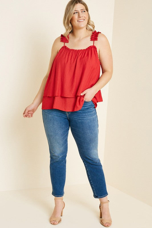 Plus Tiered Pleated Strap Tank