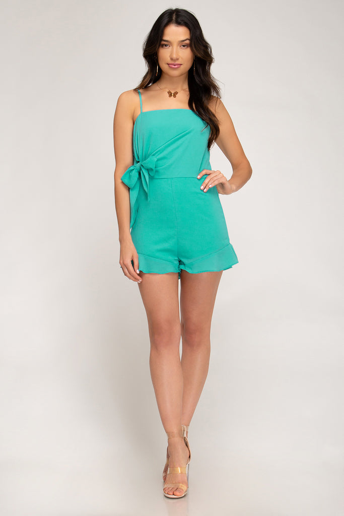 She & Sky Sleeveless Woven Romper W/ Side Detail