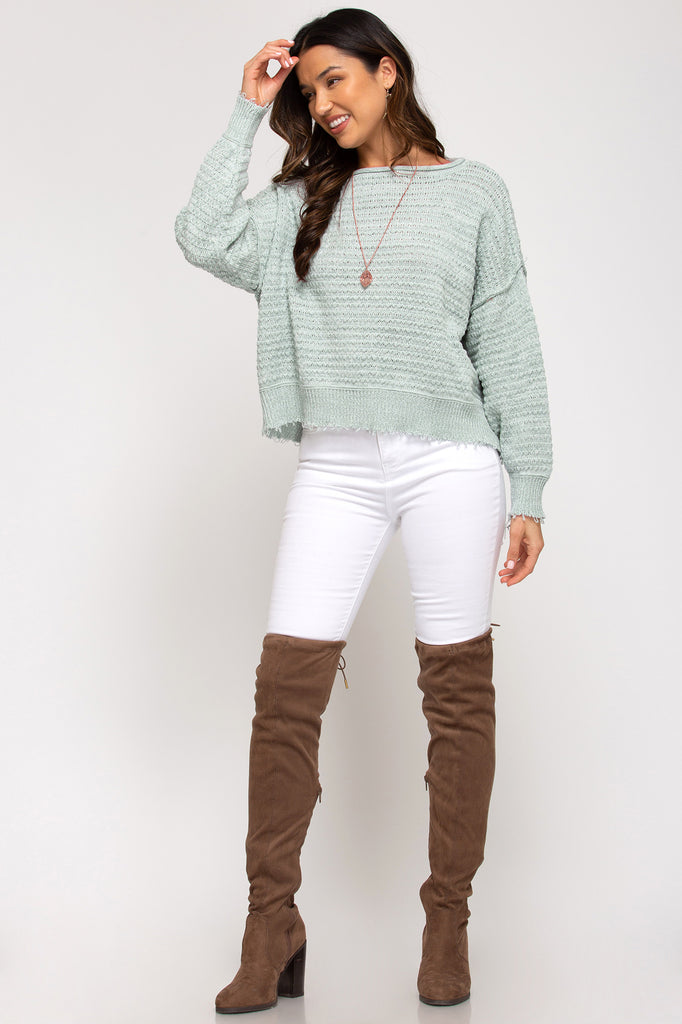 LONG SLEEVE TWO TONED TEXTURED KNIT SWEATER