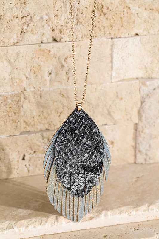 Layered Faux Leather Pendant Necklace
