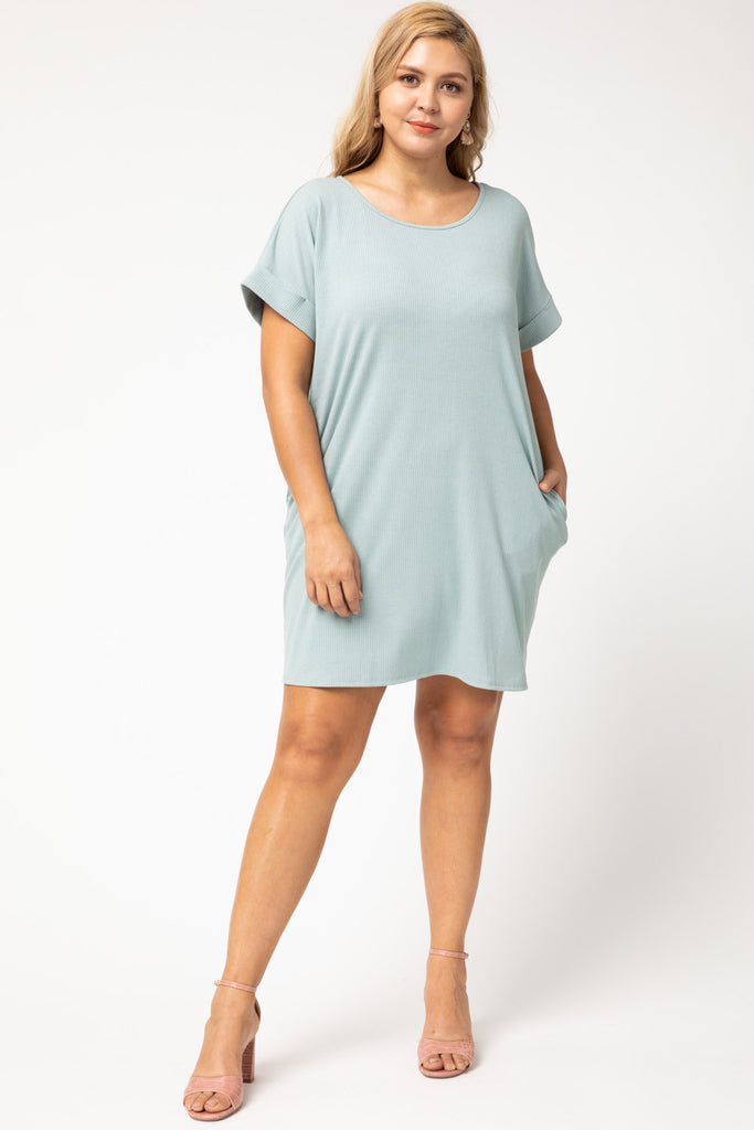 RIBBED CUFFED SLEEVE DRESS