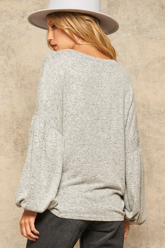 Brushed Knit Bishop-Sleeve Top