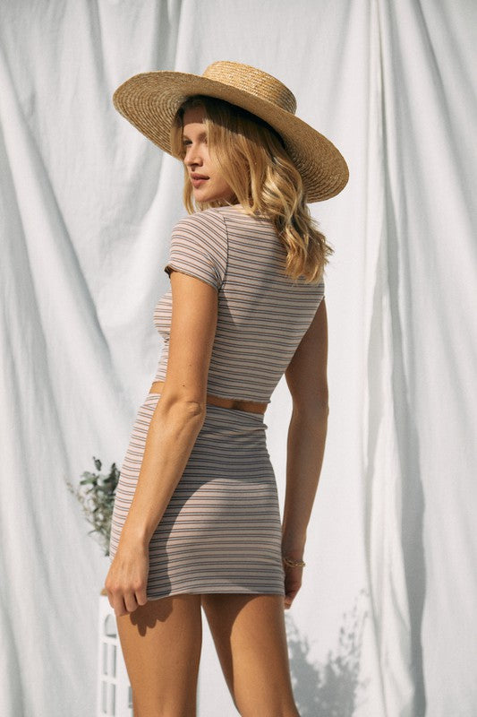 Cropped Striped Rib Short Sleeves Set