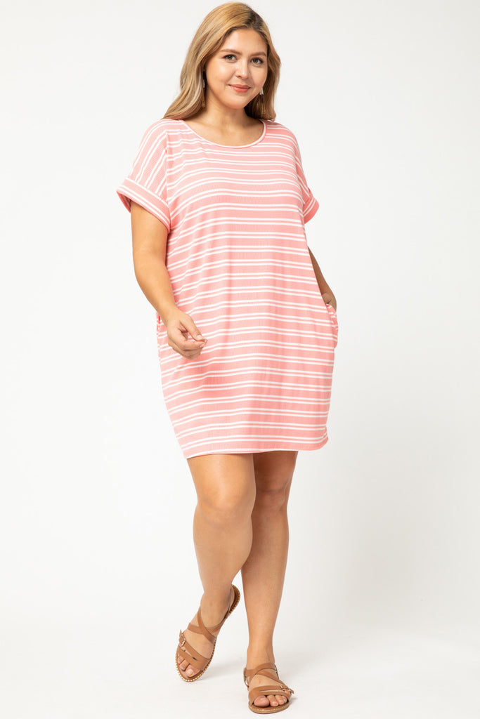 Striped ribbed scoop-neck dress