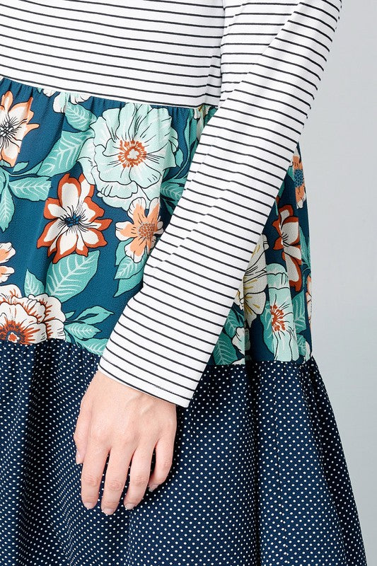Print-Blocked Striped Dress