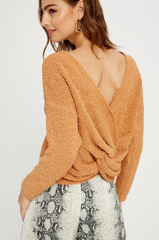 OFF THE SHOULDER KNOTTED PULLOVER