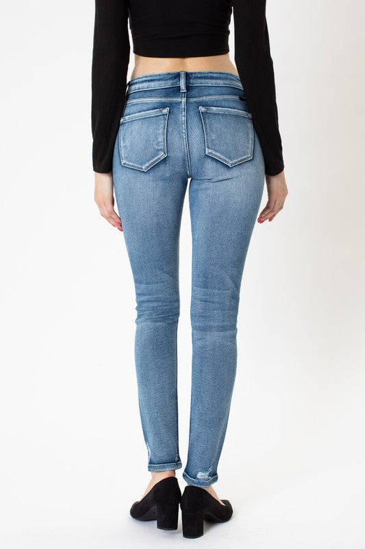 Mid Rise Distressed Super Skinny Jeans - KC8561M