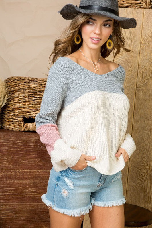 Open Back Twisted Color block Sweater Top