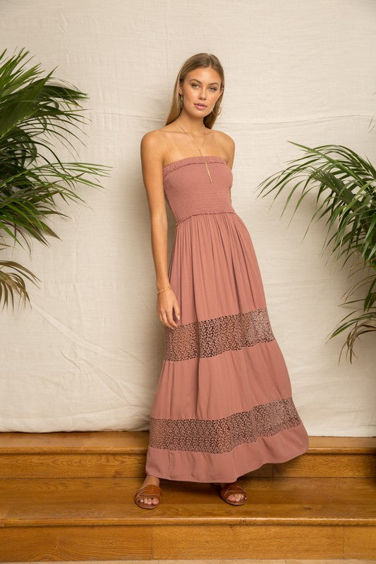 TUBE SMOCKING LACE INSERT MAXI DRESS
