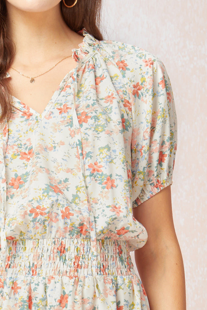 Puff sleeve floral tiered dress