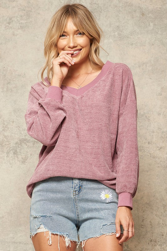 Textured Chenille Wide V-Neck Longline Sweater
