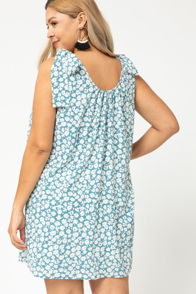 Floral print sleeveless scoop neck dress