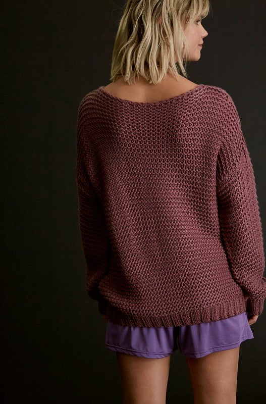 SOFT TOUCH CHUNKY KNIT BOAT NECK PULLOVER SWEATER/Final Sale