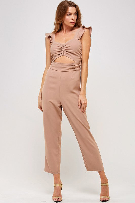 FRONT CUTOUT JUMPSUIT WITH SHOULDER RUFFLE