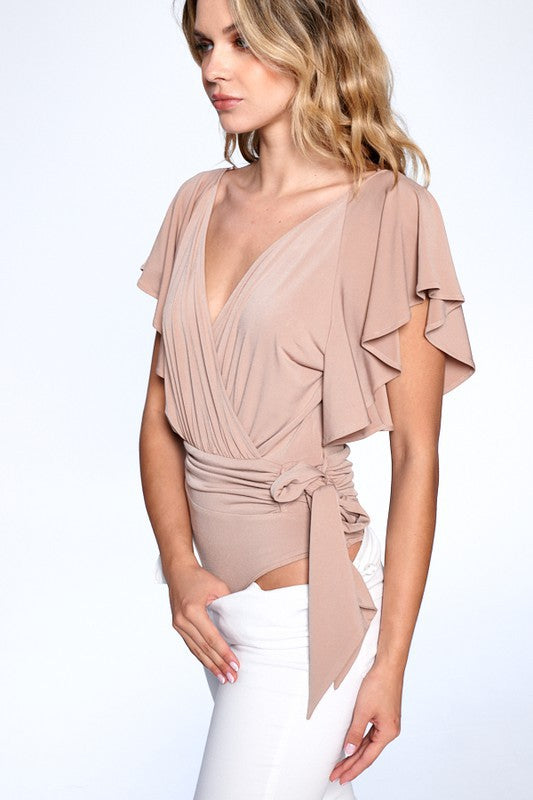 RUFFLE SLEEVE SIDE TIE SURPLICE  BODYSUIT