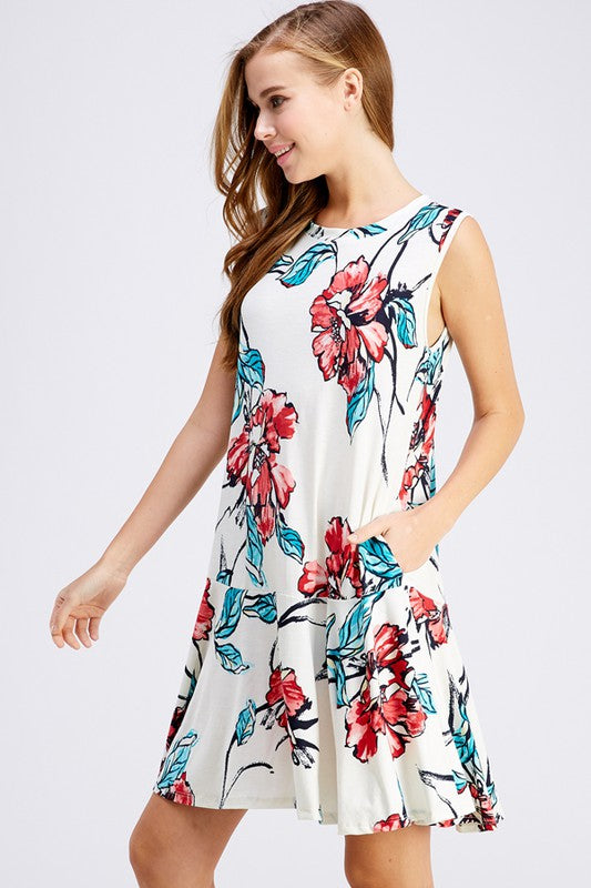 FLORAL PRINT POCKET FLARE DRESS PLUS