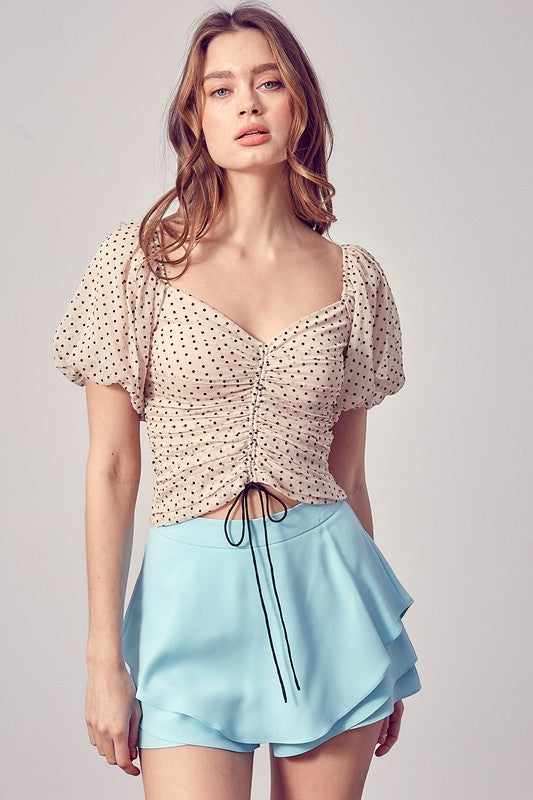 RUCHED PUFF SLEEVE TOP