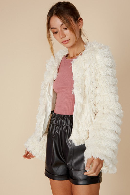 FAUX FUR BELL SLEEVE JACKET