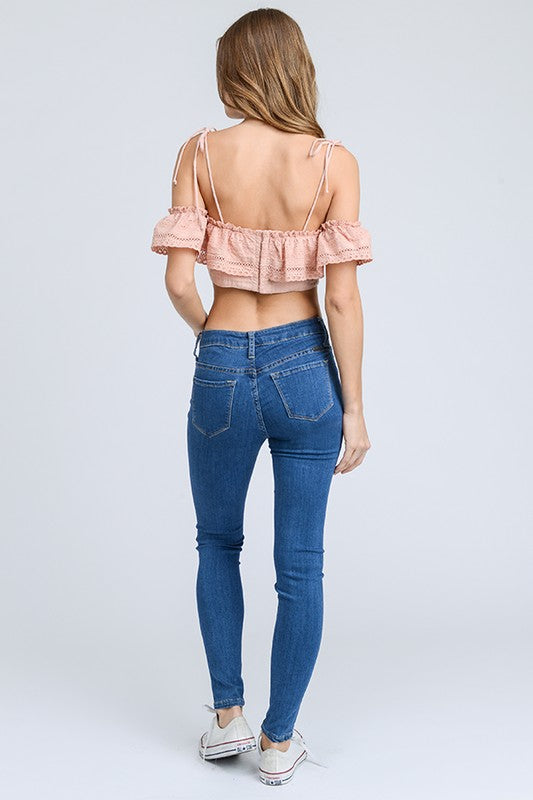 COTTON EYELID OFF SHOULDER CROP TOP