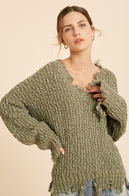 DISTRESSED HEM POPCORN KNIT SWEATER
