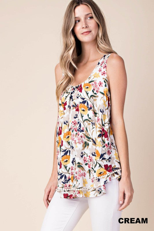 Kori Double Layer Flower Print Top