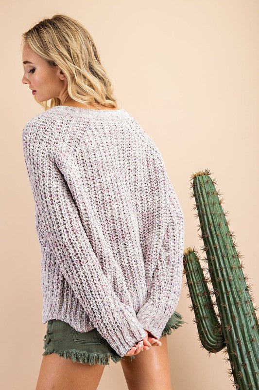 CHENILLE V-NECK RIBBED KNIT SWEATER