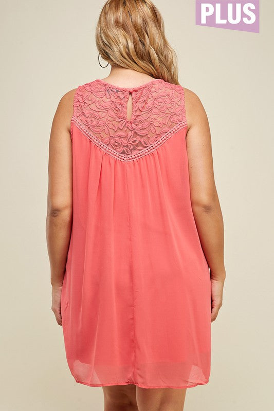 PLUS SIZE SLEEVELESS BABYDOLL DRESS WITH LACE TRIM