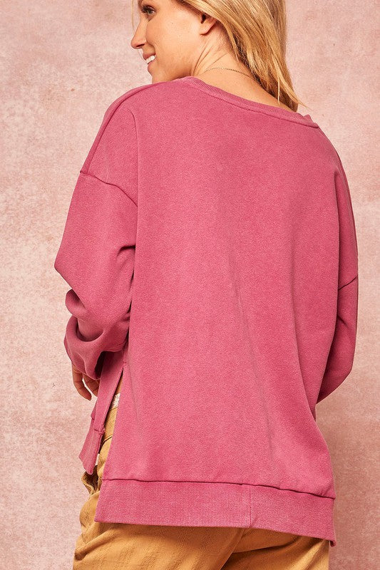 Mineral Wash Sweatshirt with Side Slits
