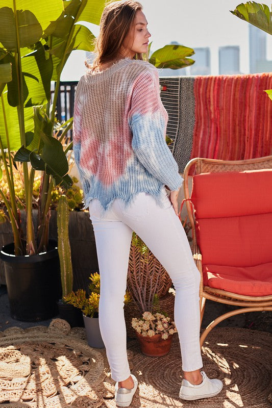 Distressed V Neck Loose Fit Deep Tie-Dye Sweater
