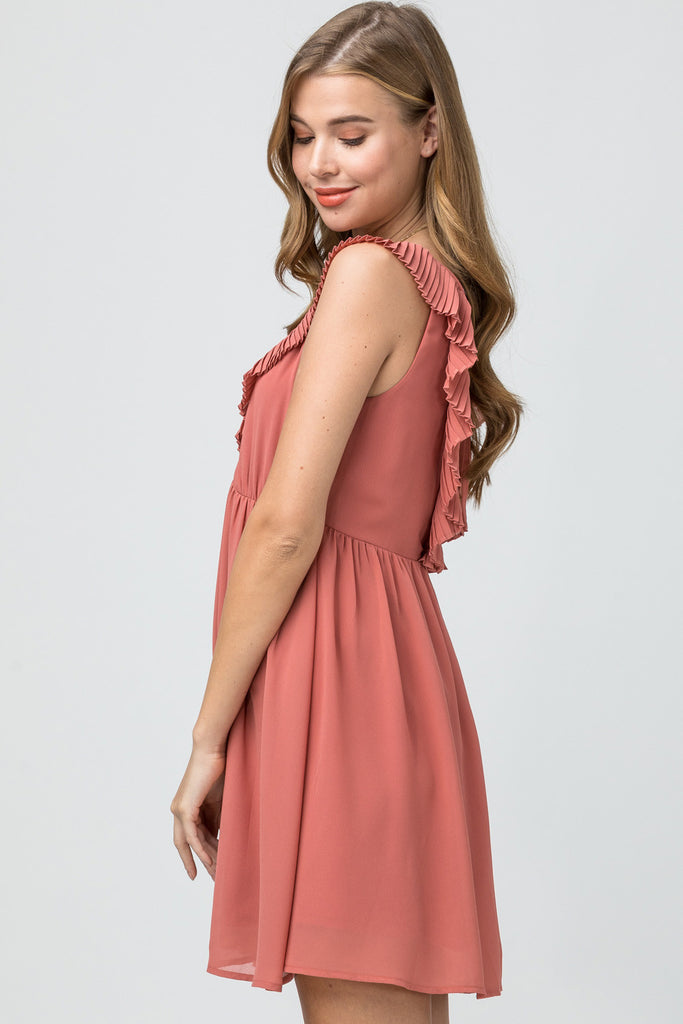 Solid plunging neckline dress