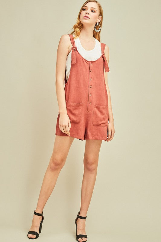 Romper W/ Front Pockets And Buttons