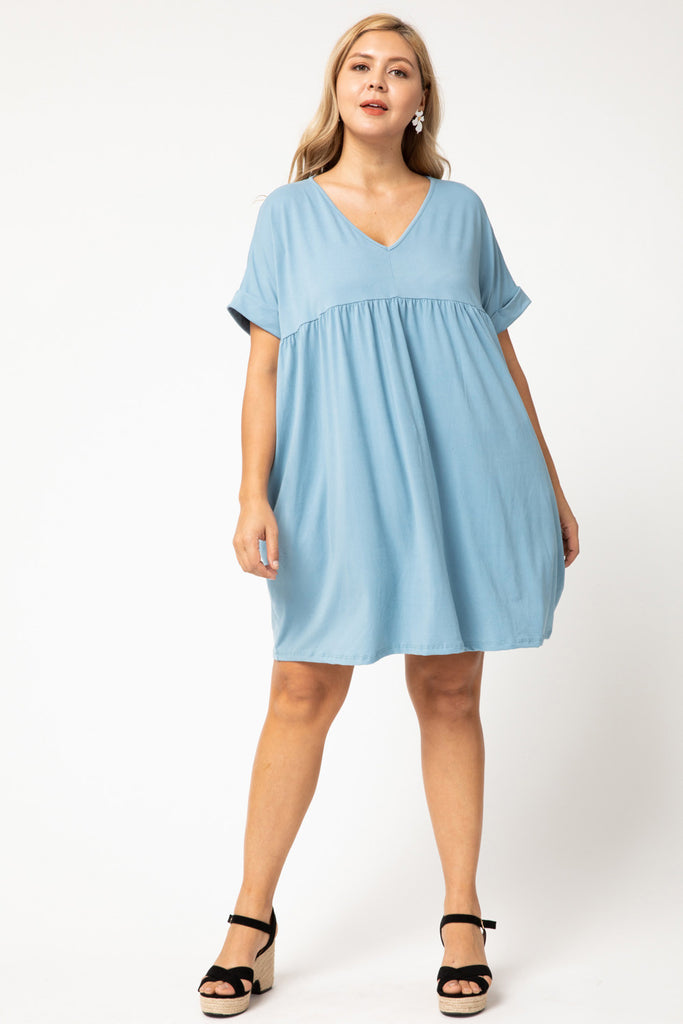 Solid v-neck babydoll dress