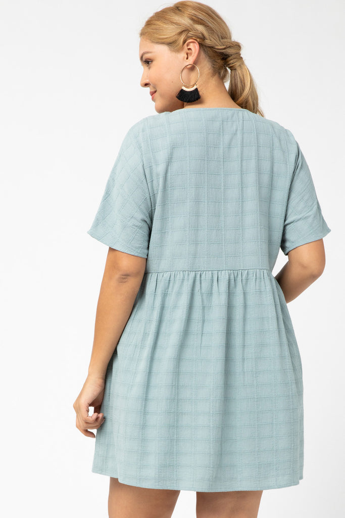Textured v-neck button-up dress
