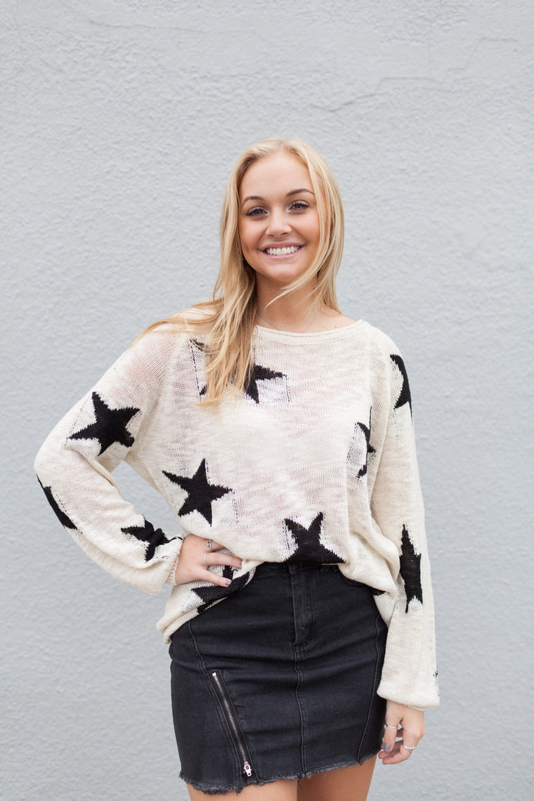 Star all over slub sweater