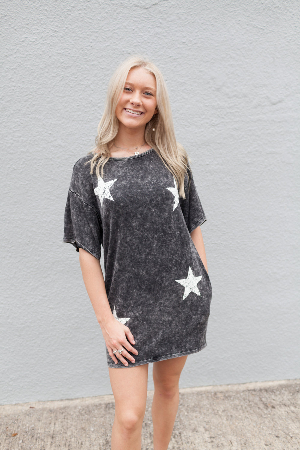 Washed Vintage Stars Graphic T-Shirt Mini Dress