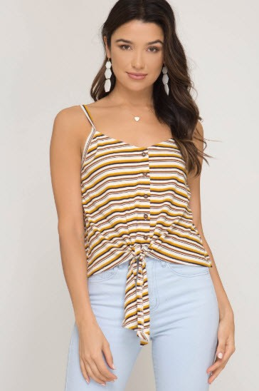 She & Sky Multi Striped Button Down Knit Cami