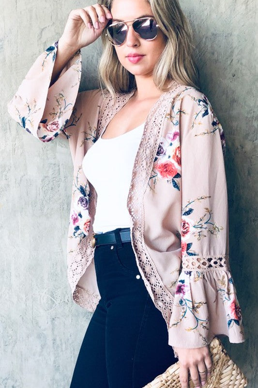 & The Why Floral Bell Sleeve Kimono