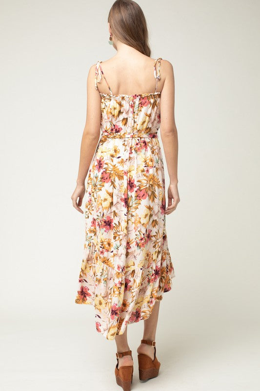 Entro Floral Print High-Low Dress With Tie