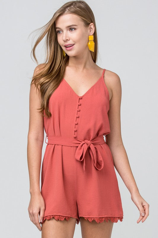 Front Buttons And Waist Tie Romper