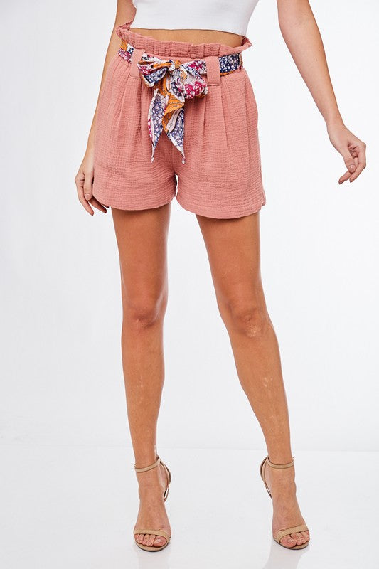 L Love Coral Printed Belt Shorts