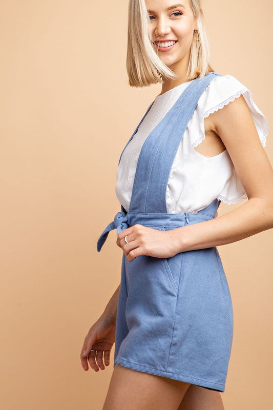 Le Lis Twill Romper With Bow Detail