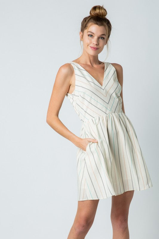 &Merci Striped A-Line Dress