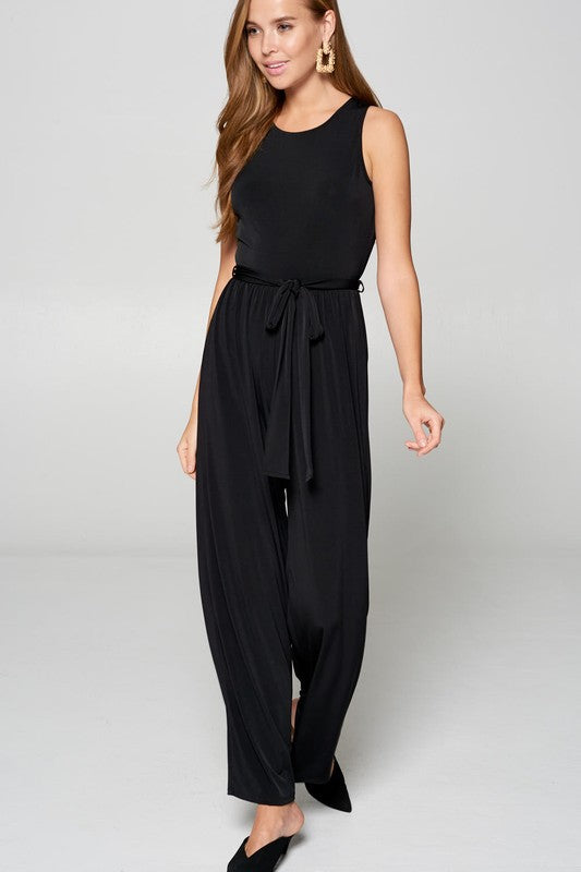 Vanilla Bay Sleeveless Jumpsuit W/ Self Tie Waist